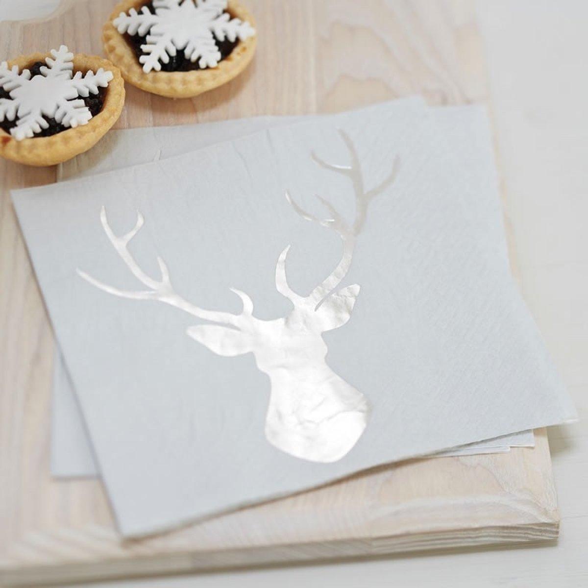 Gingerray Kerst servetten met rendier - metallic zilver - 20 stuks kopen