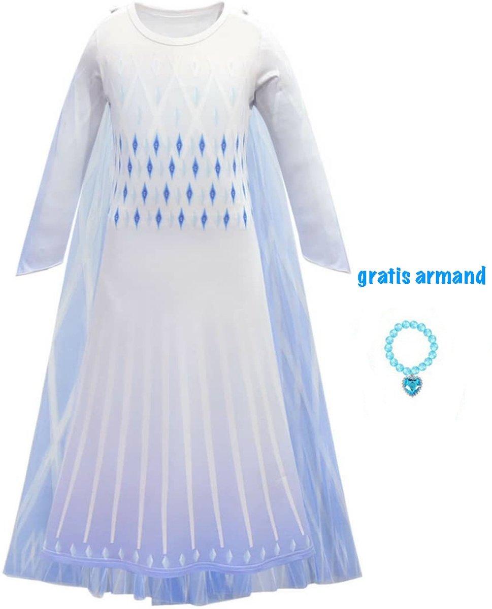 Afbeelding van product Frozen 2 Elsa verkleedjurk cape + gratis armband maat 110 (120)