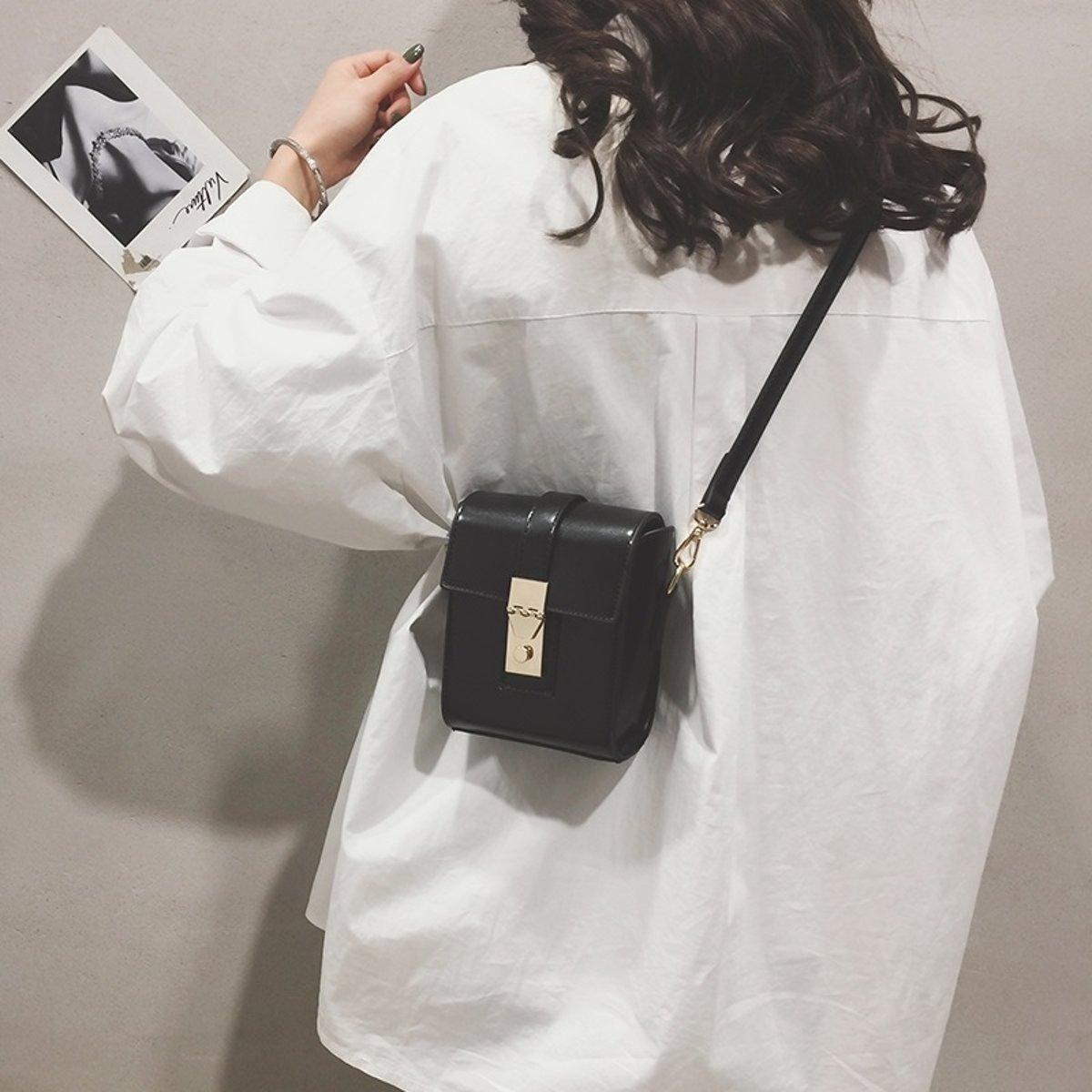 Pure kleur casual kleine vierkante zak schoudertas dames handtas Messenger Bag (zwart)