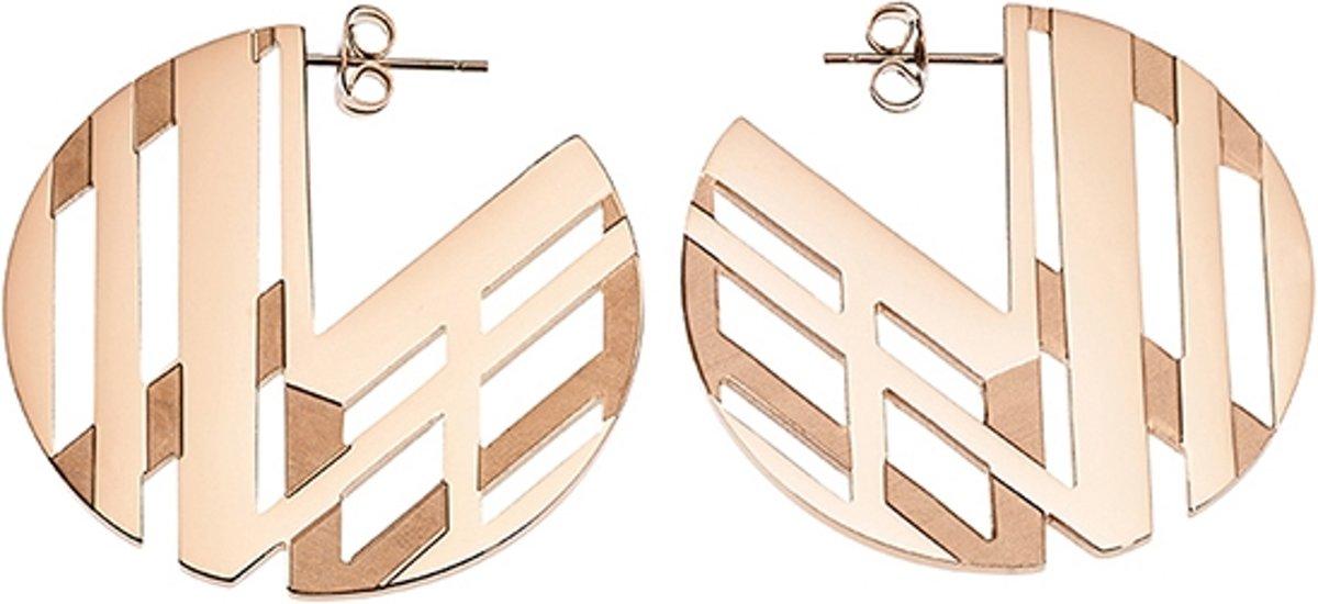 LOISIR 03L27-00410 moderne, ronde oorbellen van roségoud in V vormen kopen