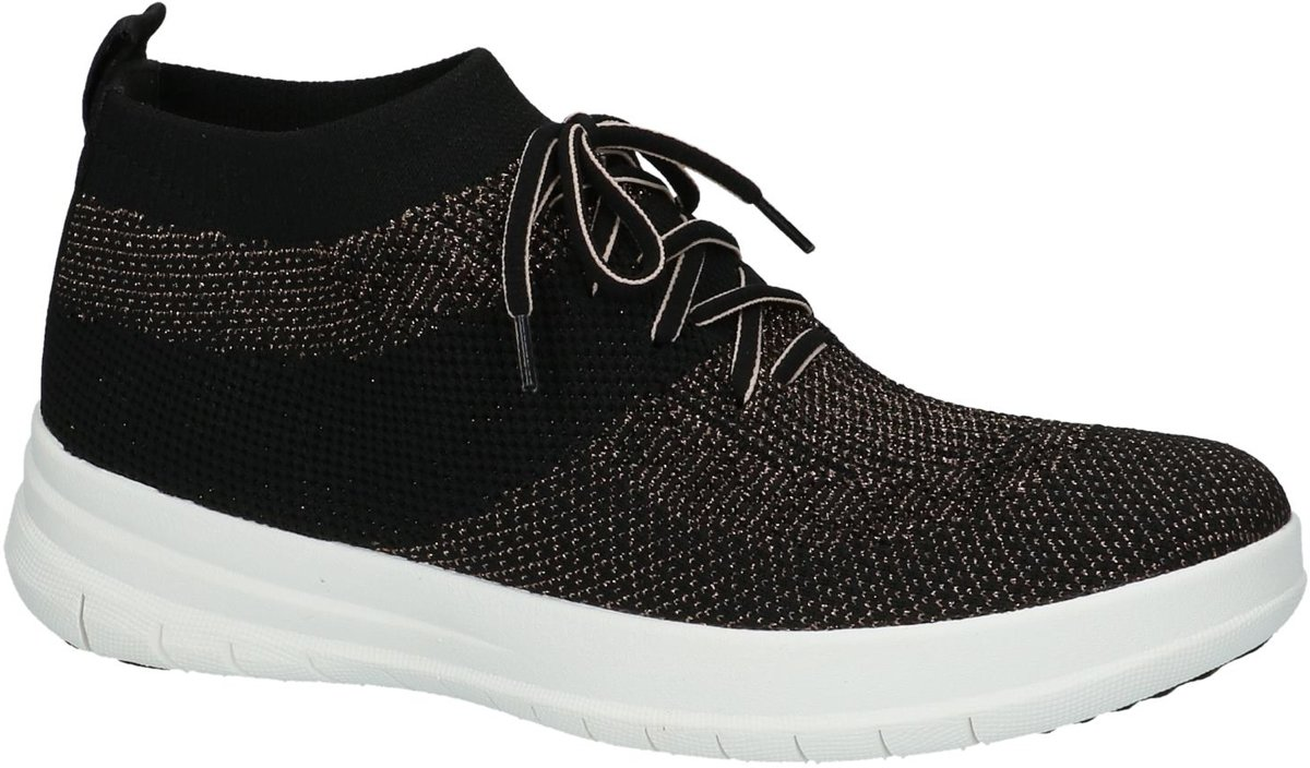 FitFlop Uberknit Slip On High Top Sneaker Sneaker laag gekleed Dames Maat 40 Zwart J30 501 BlackBronze Metall