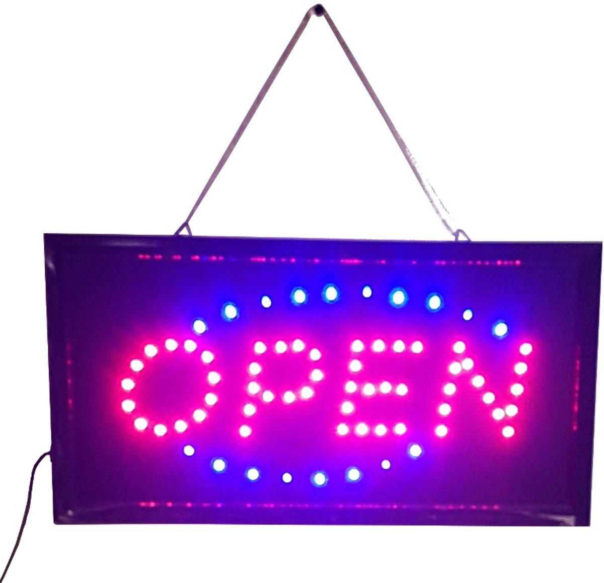 OPEN Led licht bord ledbord lichtkrant met knipper aan/uit schakelaar voor horeca restaurant winkel of keet met ophangketting kopen