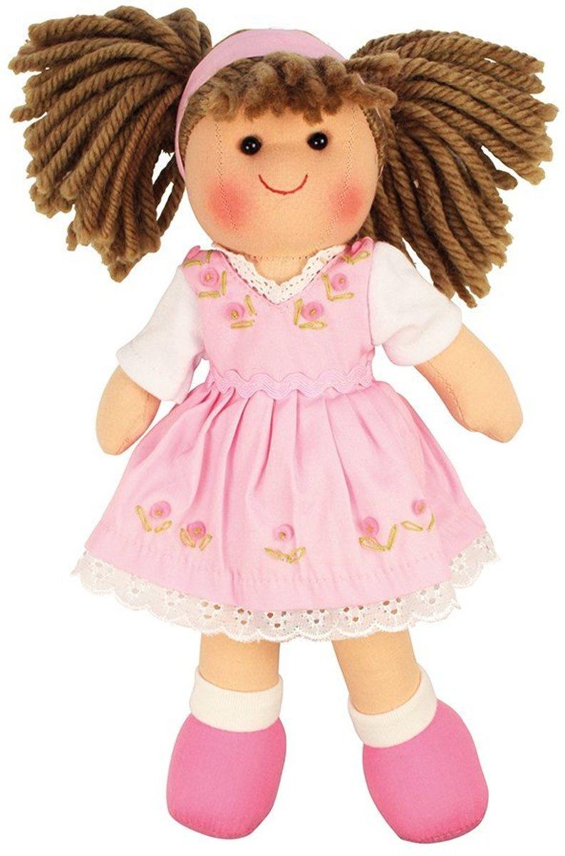 Bigjigs stoffen pop Rose 28 cm popje stof met donker haar