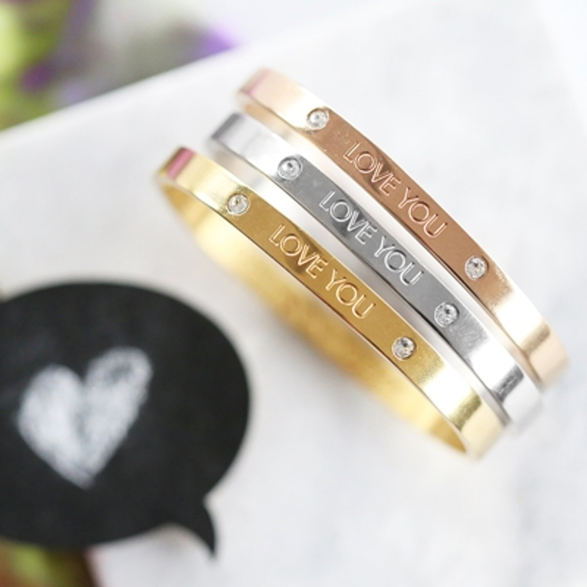 7eb1b2c83b7 bol.com | Guess - Guess stalen armband bangle goldplated Love you