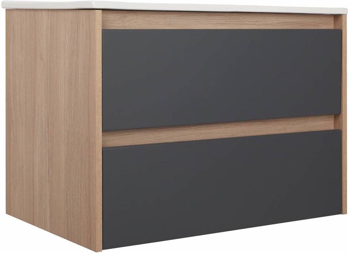 Bol.com natascha wastafelonderkast met wastafel 80 cm grijs