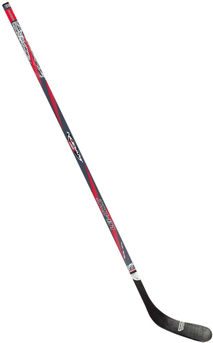 Nijdam IJshockeystick Hout/Glasfiber Jr - 137 cm - Antraciet/Rood/Zilver/Zwart - Rechts