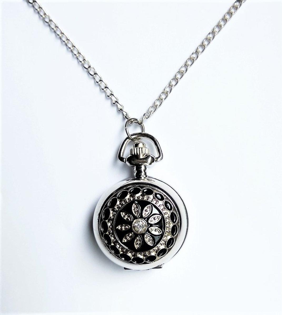Treasure Trove® Ketting Horloge Vrouwen Bling Bloem - Dames horloge - 78cm kopen