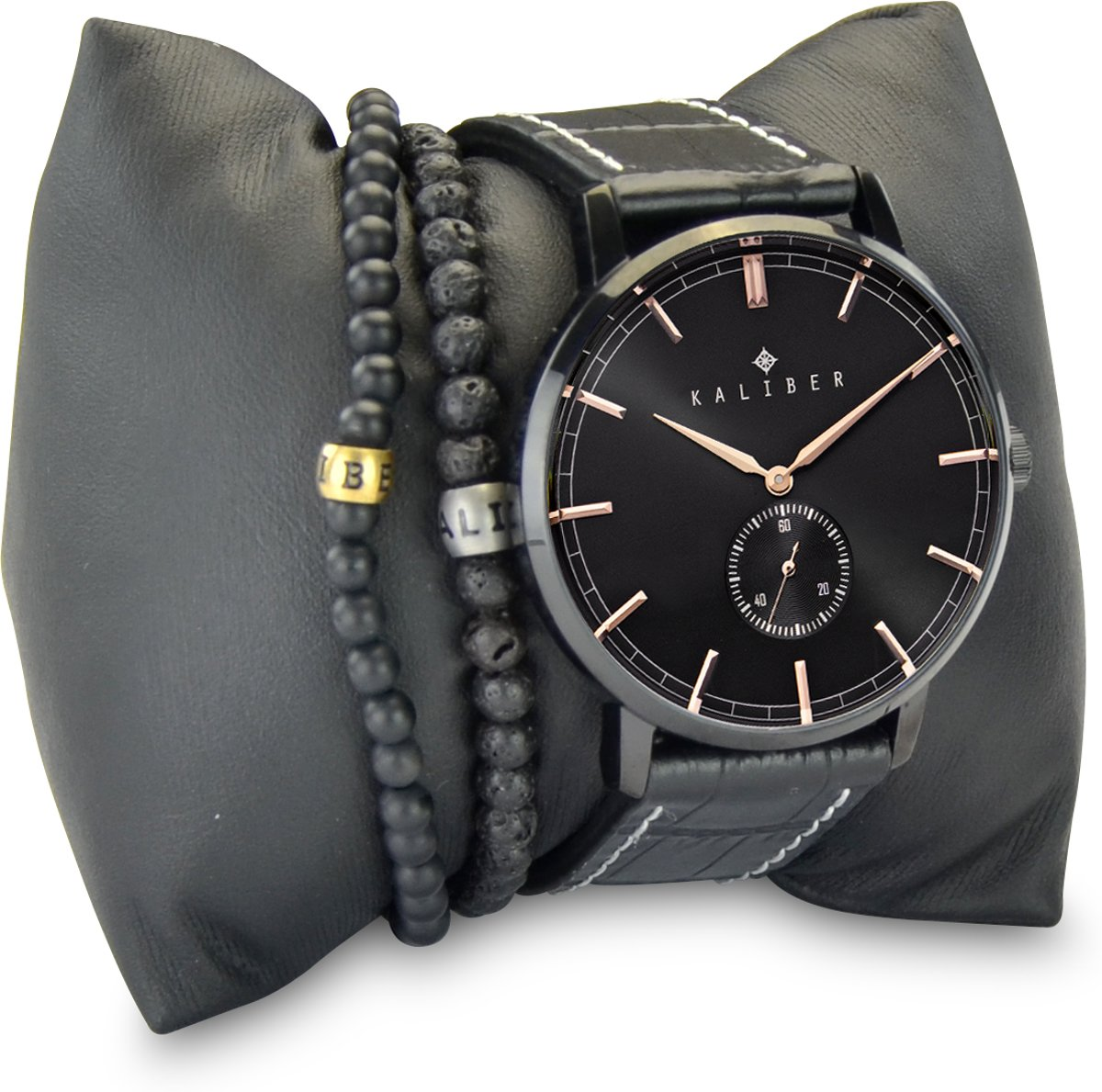 Kaliber 7KA SET006 Horloge Set met Armbanden - Leren Band - Ø 40 mm - Zwart / Rosékleurig kopen