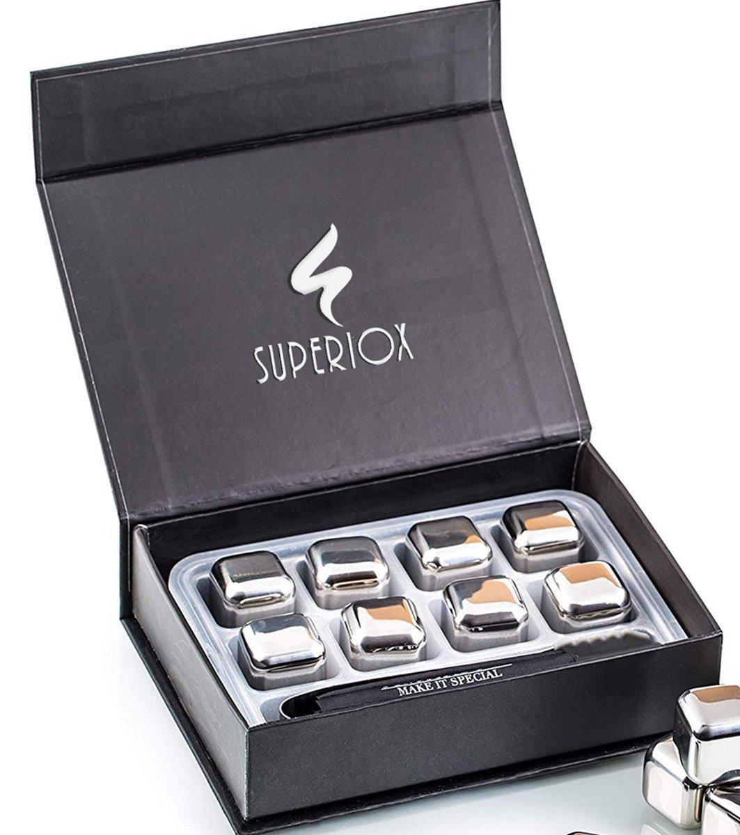 Whiskeystones Set - Luxe Whiskey Stenen 8 stuks - Ijsblokken - RVS - Prachtige Whiskey Cubes Set - Superiox™ kopen