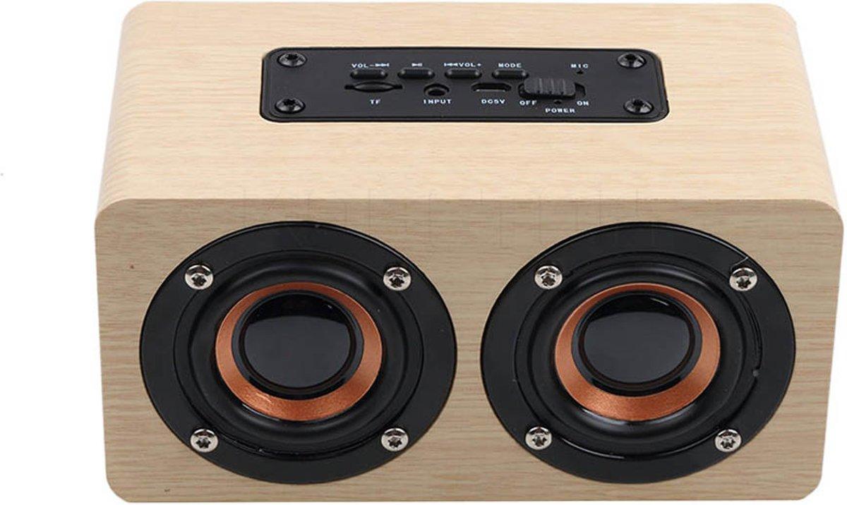Bluetooth Houten Retro Speaker | 10W Wooden Box Speaker | Alternatief JBL & Bose Speakers |15 x 8.5 x 7.5 cm | Lovnix Speaker 10W - Wit
