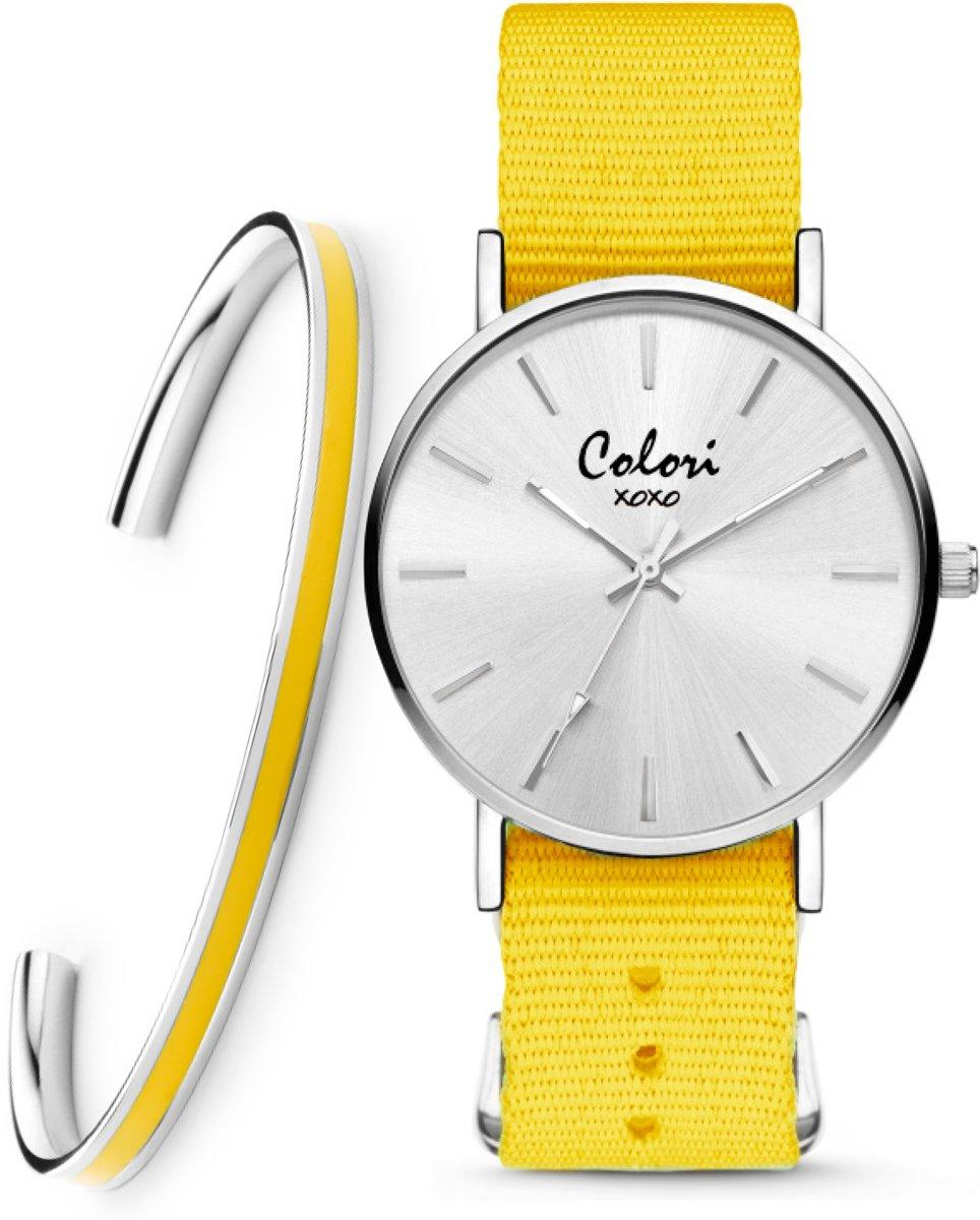 Colori XOXO 5 COL551 Horloge Geschenkset met Armband - Nato Band - Geel - ø 36 mm kopen