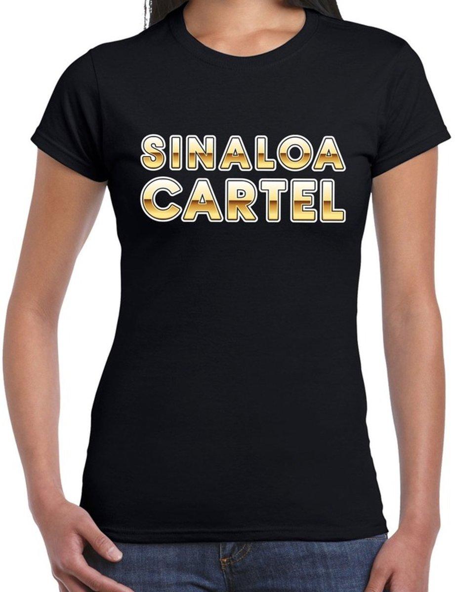Afbeelding van product Bellatio Decorations  Drugscartel Sinaloa Cartel t-shirt -zwart voor dames - drugskartel maffia / gangster verkleedshirt / outfit 2XL  - maat XXL