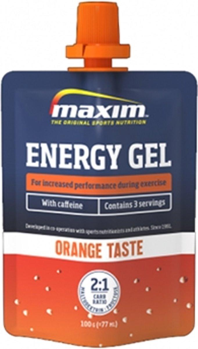 24x Maxim Energy Gel Orange met Cafeïne 100g kopen