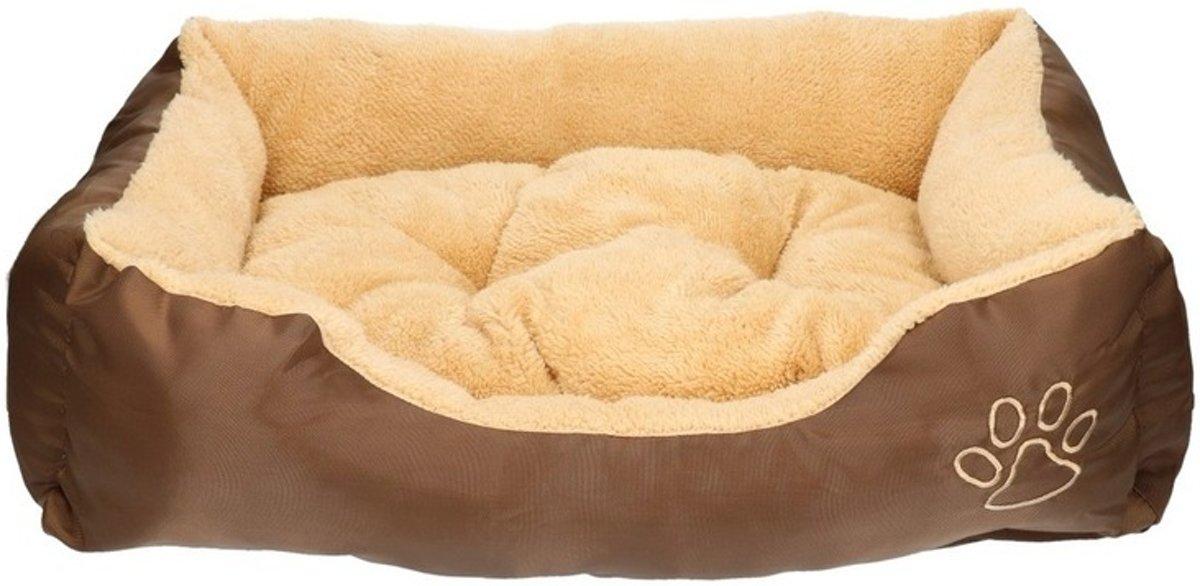 Honden of katten slaap mand/kussen bruin/beige 61 cm