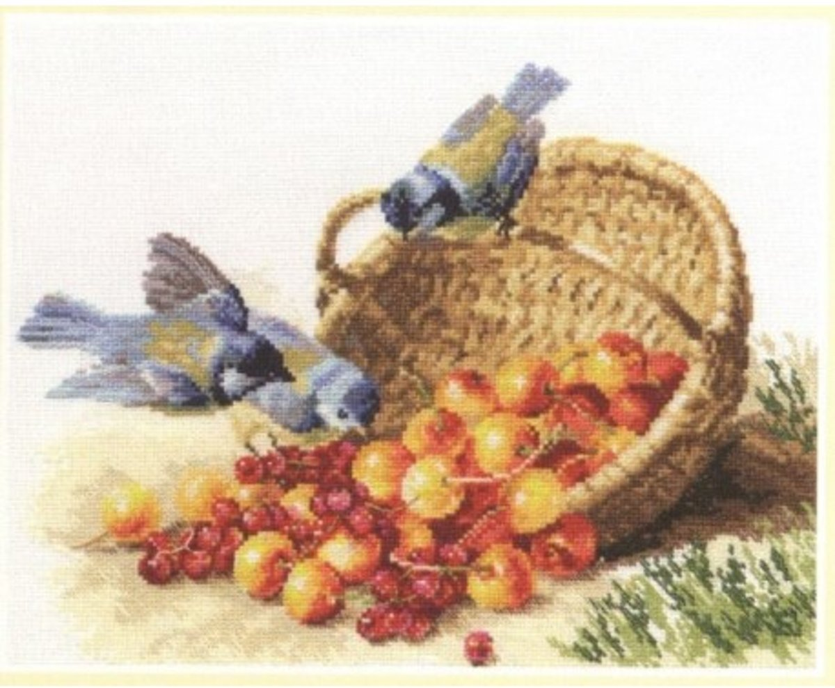 Borduurpakket Alisa Chickadees and Sweet Cherries 32 x 24 cm (telpakket)