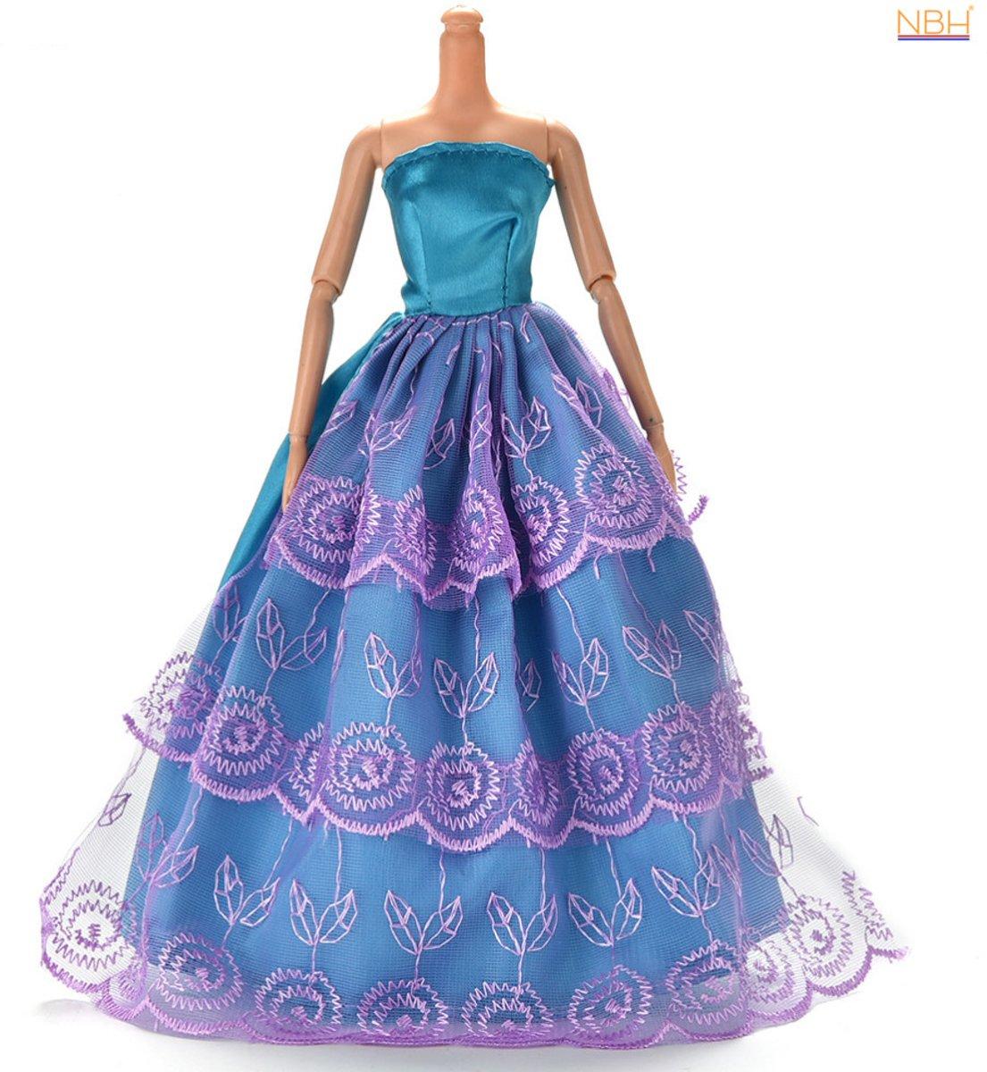 Blauw- Paarse Prinsessenjurk of trouwjurk voor de Barbie pop