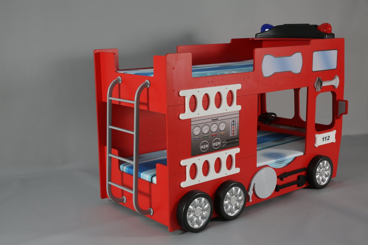 Brandweer Auto Stapelbed.Stapelbed Fire Truck Kinder Auto Bed Incl Matras