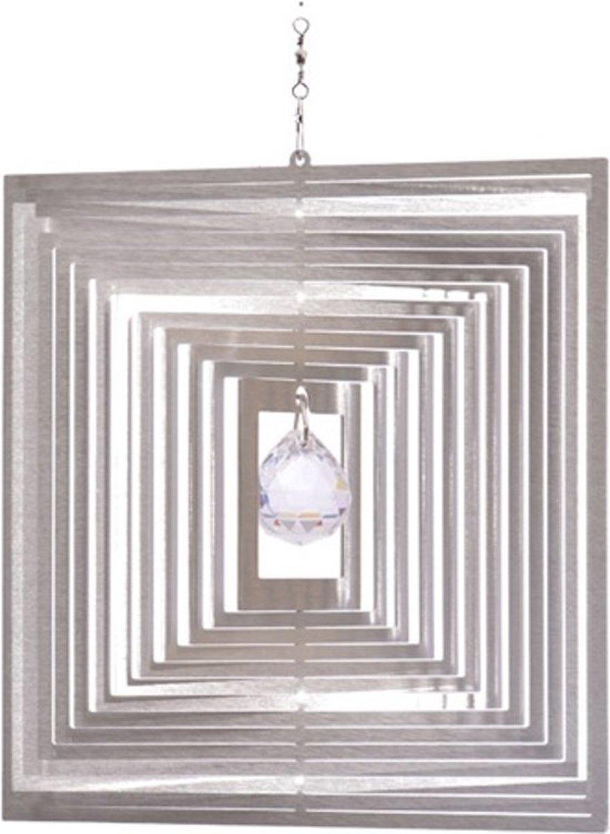 Windspinner RVS Vierkant kristalkogel kopen