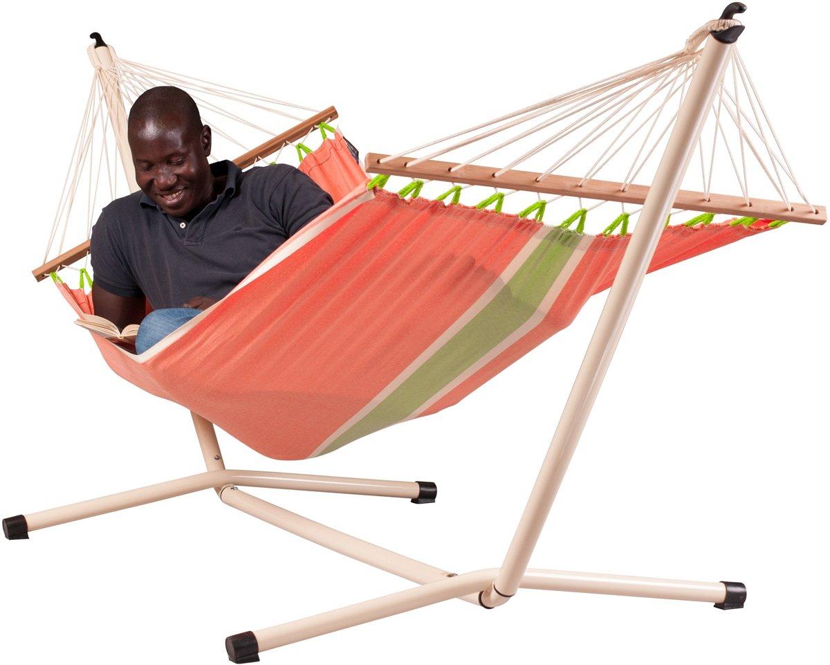 Hangmatset: 1-persoons hangmat met spreidstok FRUTA mango + Standaard voor 1-persoons hangmat NEPTUNO