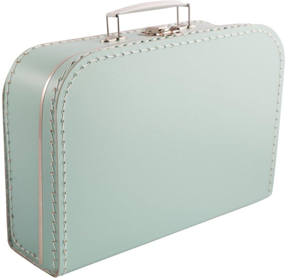 Koffertje effen blanco 25cm Mintgroen - Kinderkoffertje