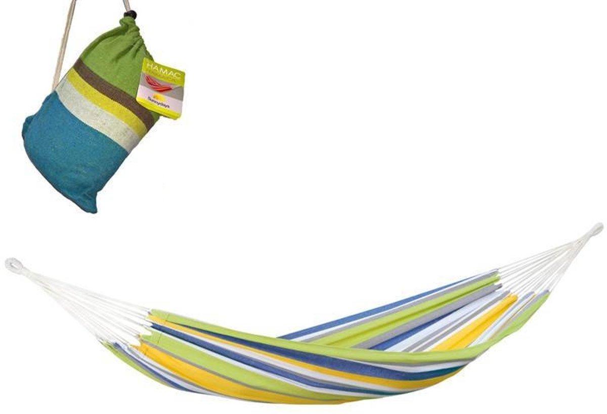 Hangmat 260 x 78 cm - 1 Persoons - Inclusief Opbergtas - Groen Multicolor