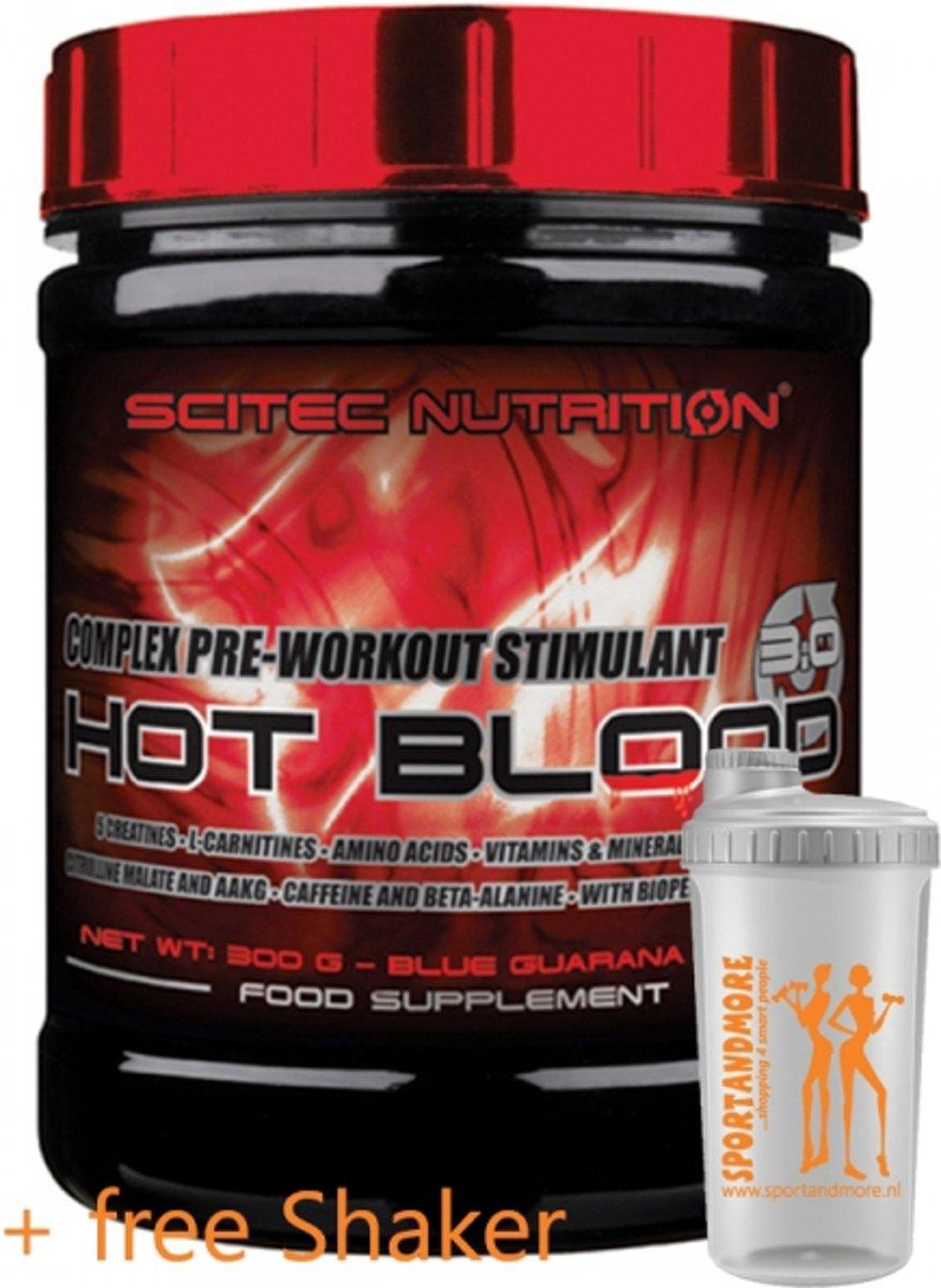 Scitec Nutrition - Hot Blood 3.0 - complex pre workout stimulant - 300 g - Orange + sportandmore shaker kopen