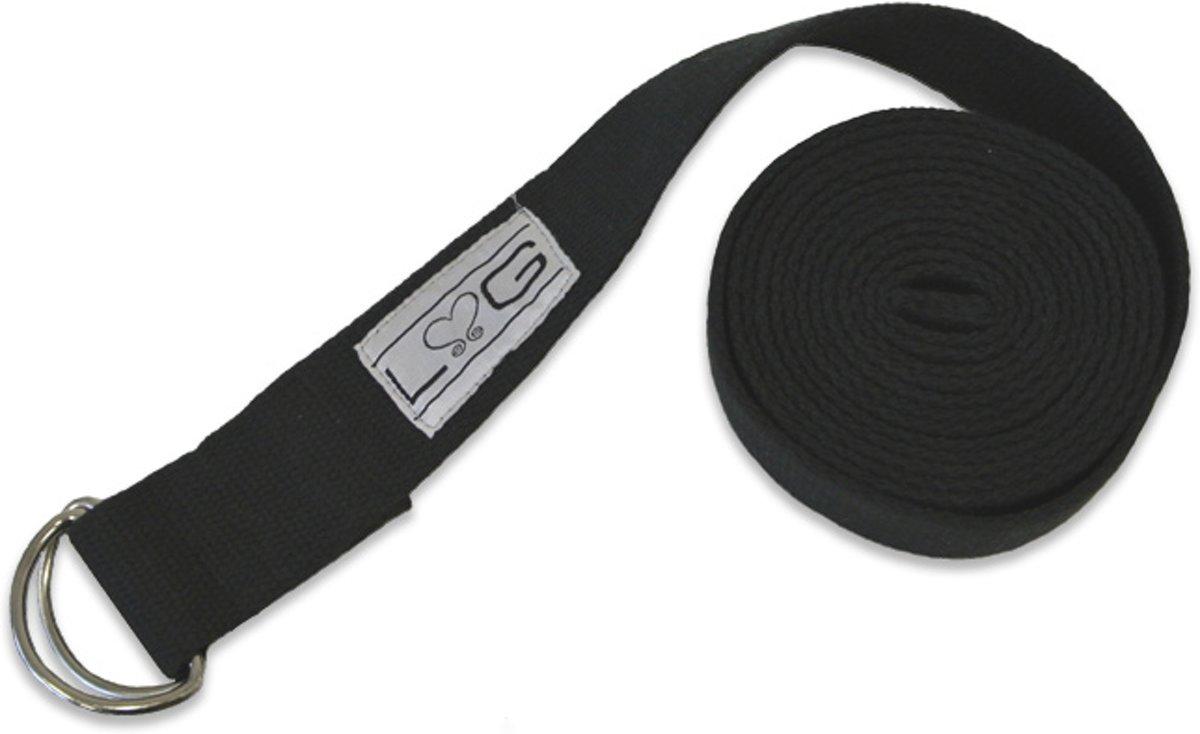 Love Generation - Yogariem - 250 cm x 3,8 cm - Zwart - Katoen met metalen D-gesp kopen