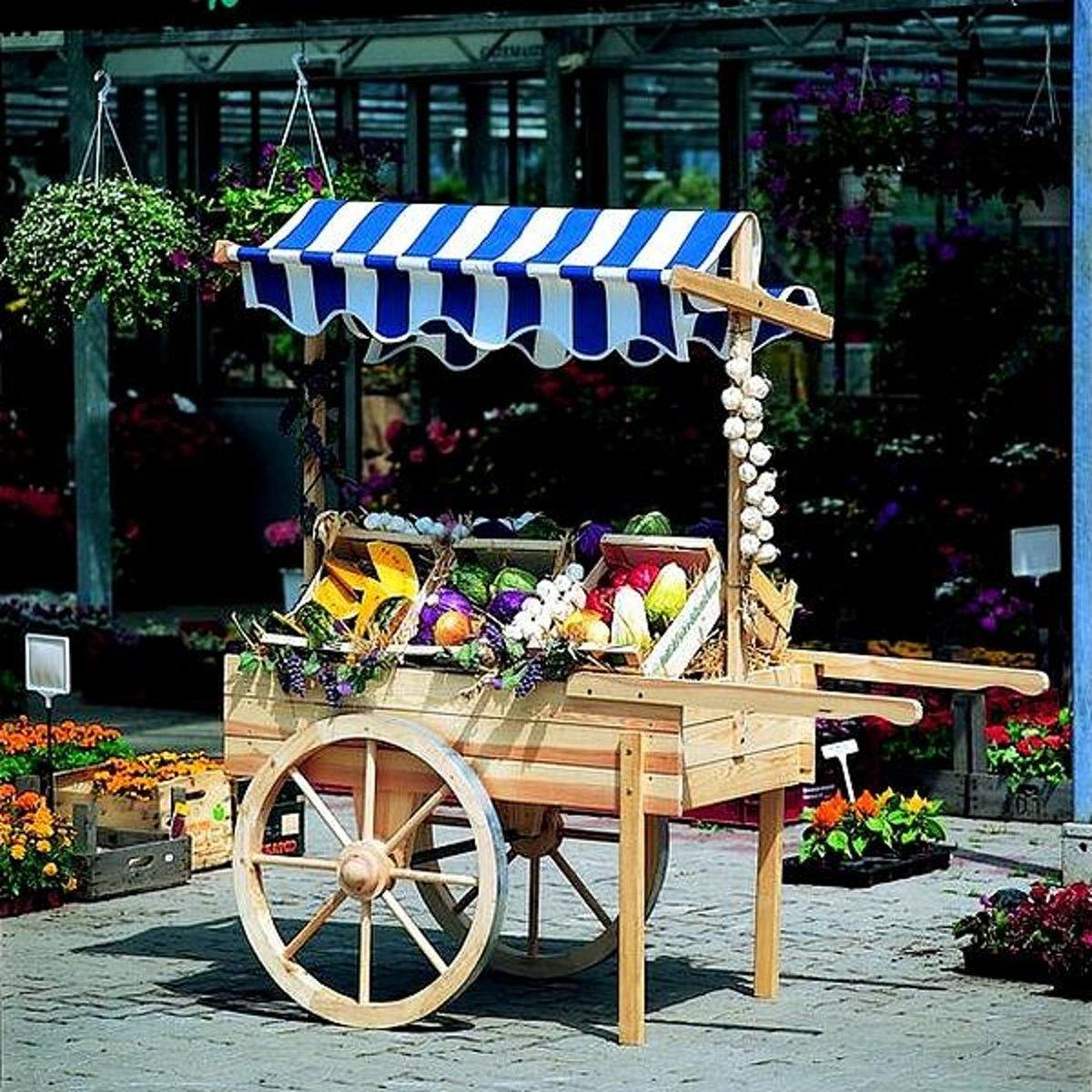 Houten marktwagen met luifel (blauwwit) kopen