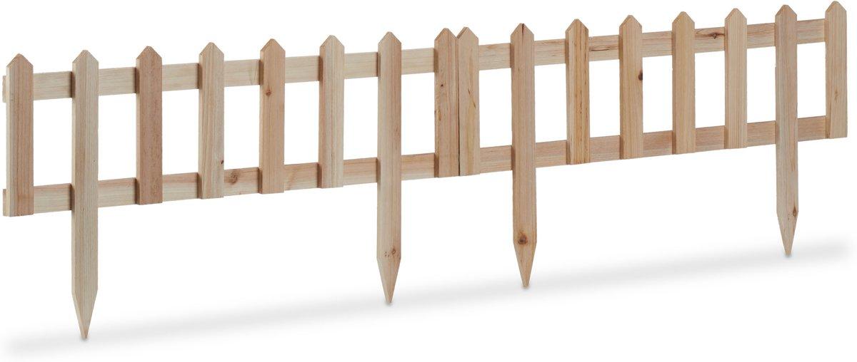 relaxdays perkhekje hout - set sierhekjes - borderrand - afgrenzing perken - perkrand Pak van 2 kopen