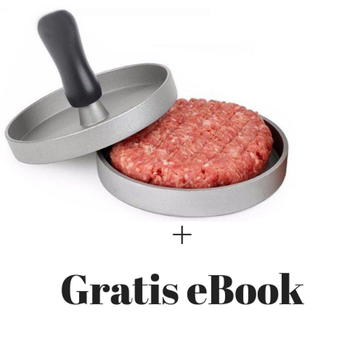 Hoge Kwaliteit KitchenKing Hamburger pers met antiaanbaklaag - Grijs + GRATIS hamburger recepten eBook kopen