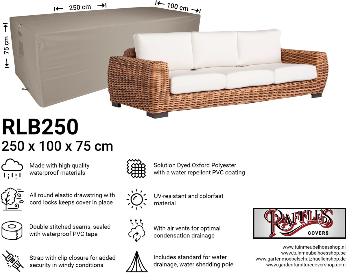 Afdekhoes loungebank 250 x 100 H: 75 cm NW-RLB250straight