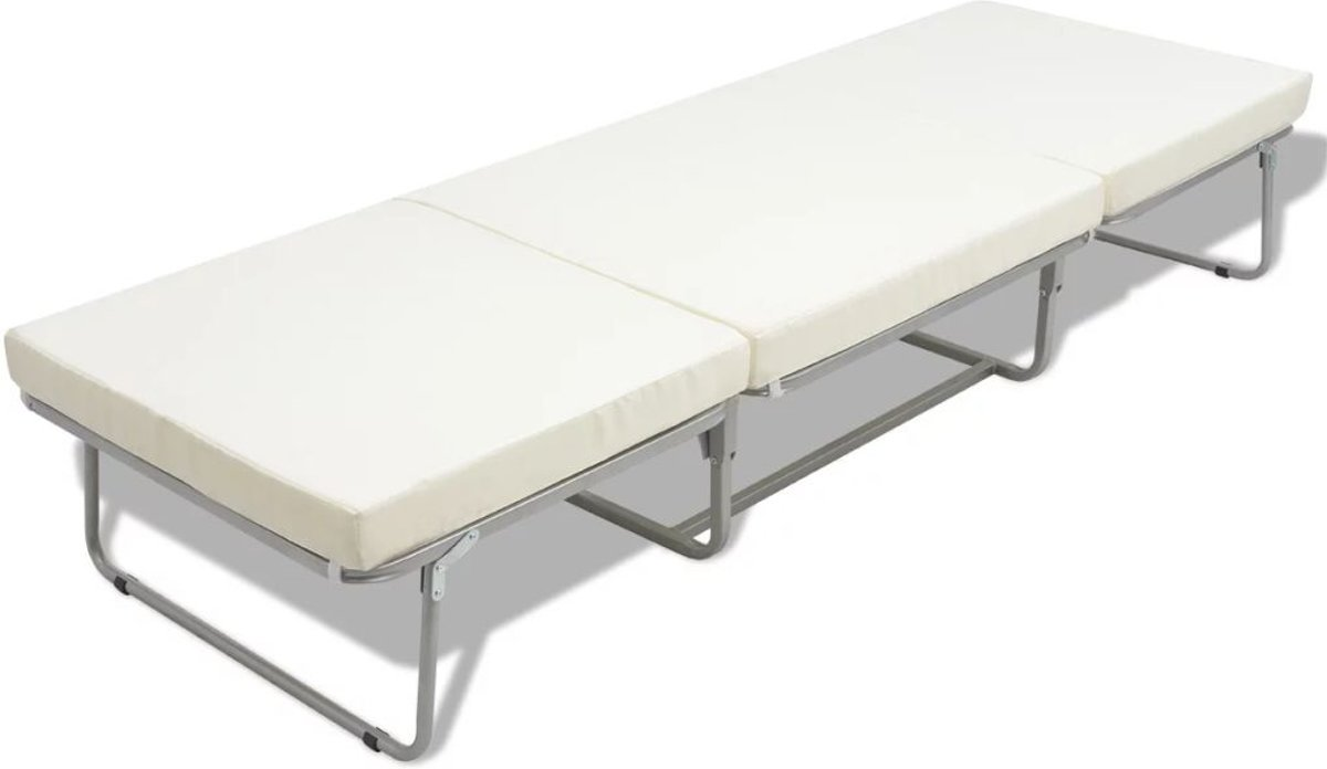 Bol vidaxl vouwbed stoel met matras staal cm