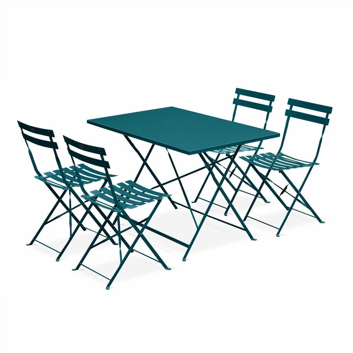 Bistro tuin set, rechthoekige tafel en 4 opklapbare stoelen kopen