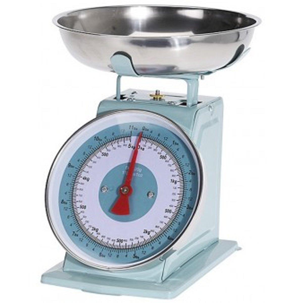 Keukenweegschaal - Retro Keuken weegschaal - Kitchen weegschaal - Mechanische weegschaal - 5kg - Mintgroen