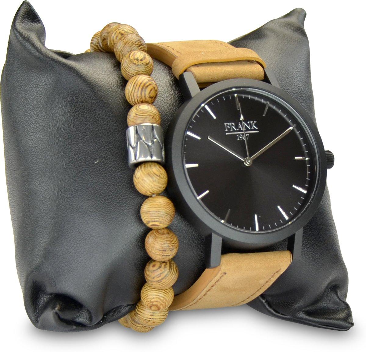 Frank 1967 7FR SET025 Horloge Set met Armband - Leren Band - Ø 42 mm - Zwart / Licht Bruin / Zilverkleurig kopen