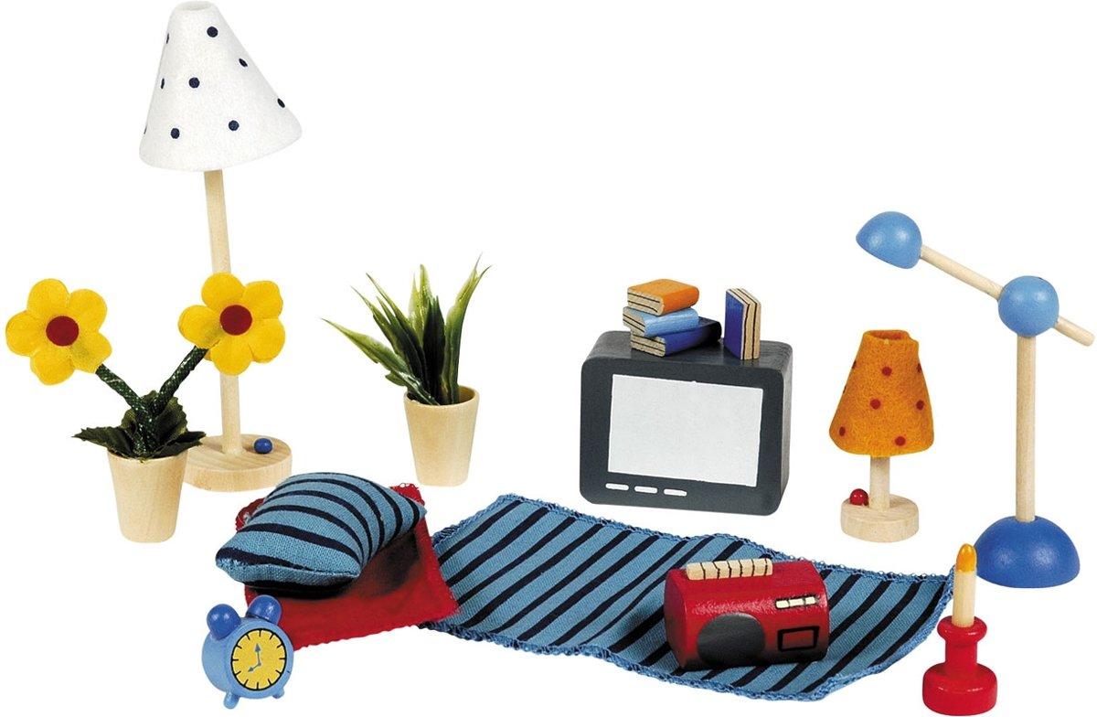Goki Houten poppenhuis woon- en slaapkamer accessoires 17-delig