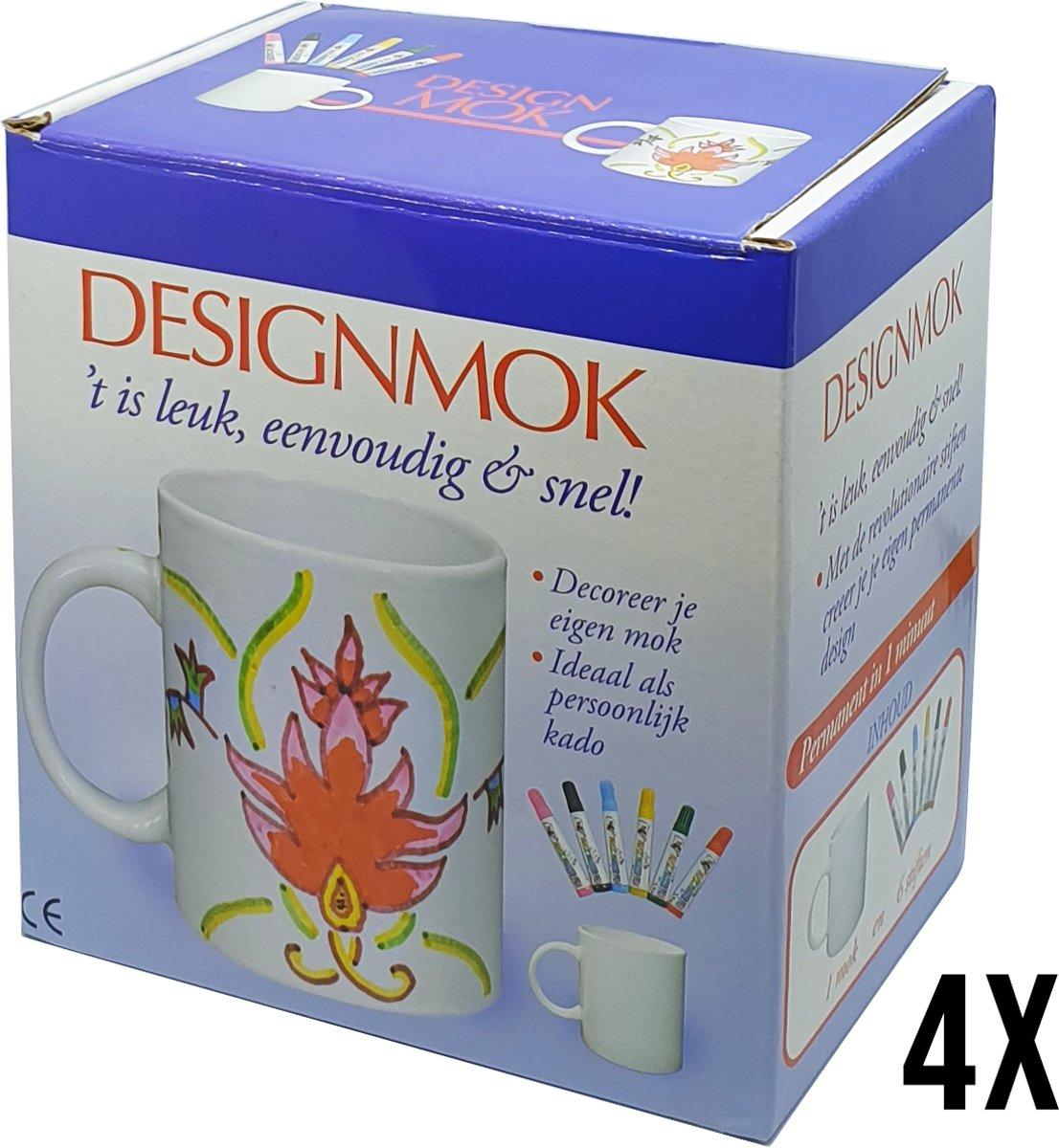 Decoreer je eigen mok - set van 4 mokken - inclusief 24 stiften - permanent in 1 minuut - Geschikt als kado, voor kinderfeestjes & kids craft