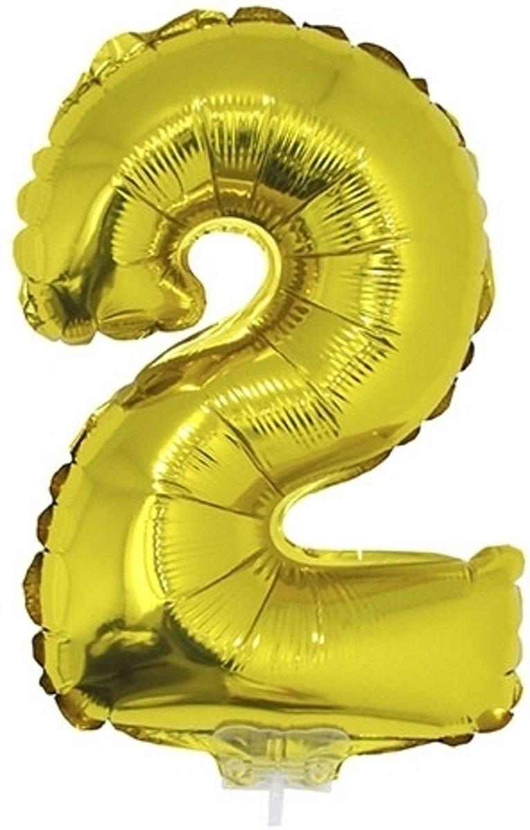 Gouden opblaas cijfer ballon 2 41 cm kopen