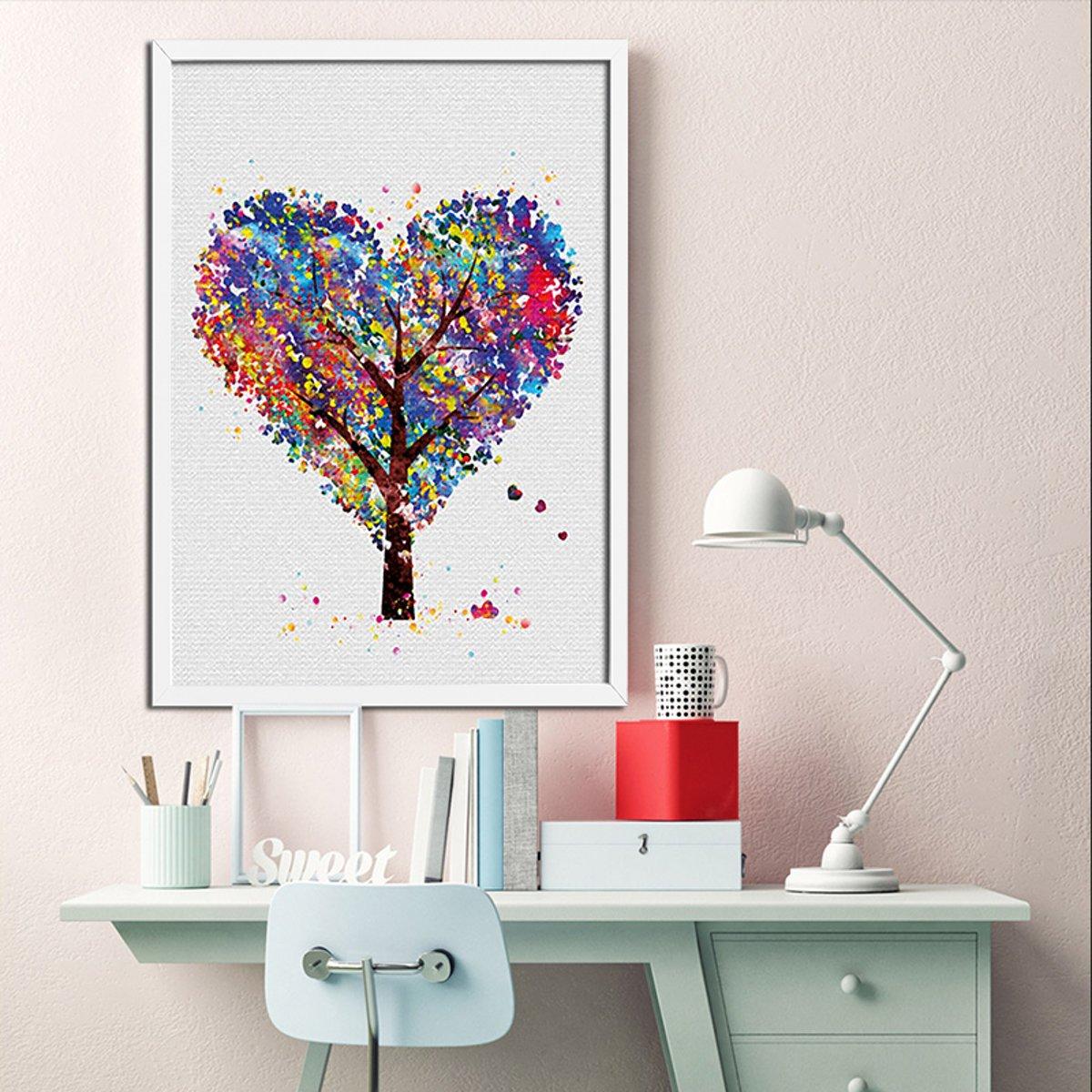Postercity - Design Canvas Poster Gekleurde Hartjes Boom / Kinderkamer / Muurdecoratie / 40 x 30cm / A3 kopen
