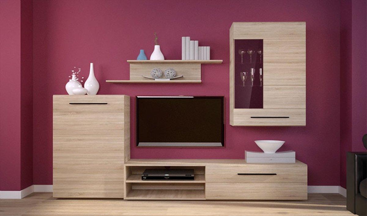 Tv Meubel 4 Delig.Tv Meubel Set Eiken Tv Kast 2 Kasten Gratis Wandplank Woonkamer Classic Oak