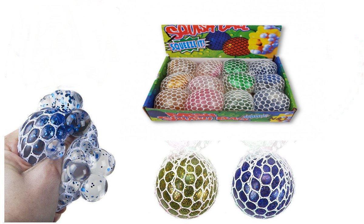 Mesh Squeeze Ball Glitter 4 stuks - 4 verschillende kleuren - 50 mm diameter