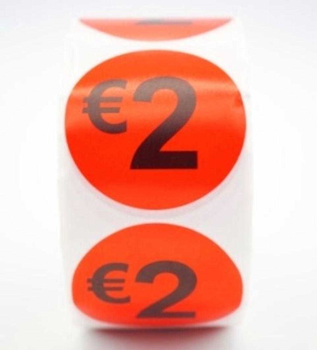Prijsstickers op rol 500 stuks 2 euro - 2cm kopen