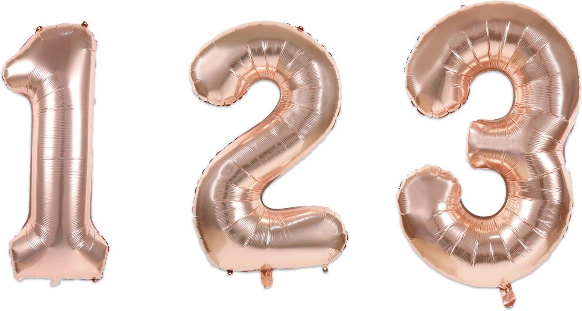 """""""""""""""Folie ballon nummer """"""""""""""""1"""""""""""""""", 35cm, rose goud"""""""""""" kopen"""