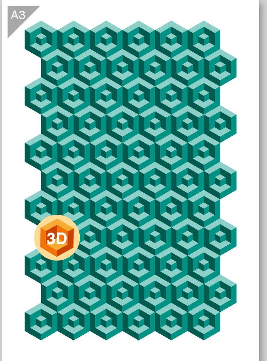 Kubus patroon sjabloon - 3 lagen (3D effect) kartonnen A3 stencil - Kindvriendelijk sjabloon geschikt voor graffiti, airbrush, schilderen, muren, meubilair, taarten en andere doeleinden kopen