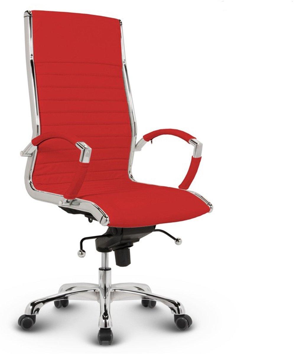 Bureaustoel Lincoln Relax Design - Hoge Rugleuning - 100% Echt Leder - Rood kopen