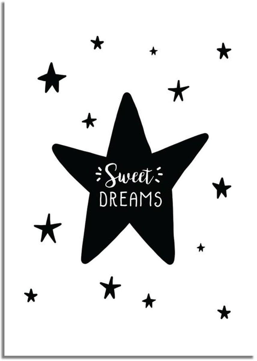 Kinderkamer poster Sweet Dreams DesignClaud - Zwart wit - A2 poster kopen