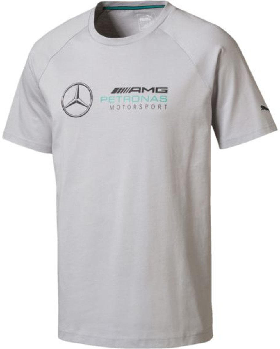 PUMA MAPM Logo Tee Shirt Heren - Mercedes Team Silver