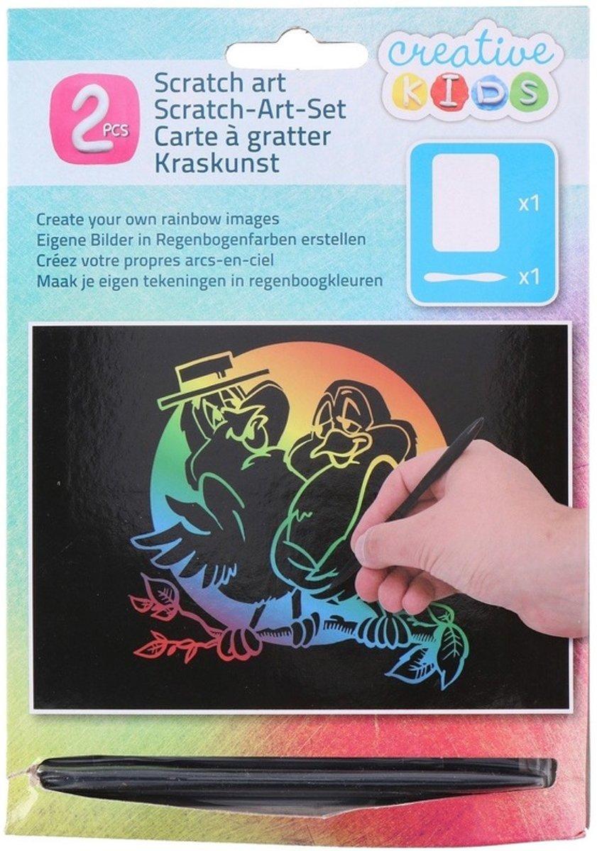 Kras tekening / krasfolie regenboog kleuren vogels kopen