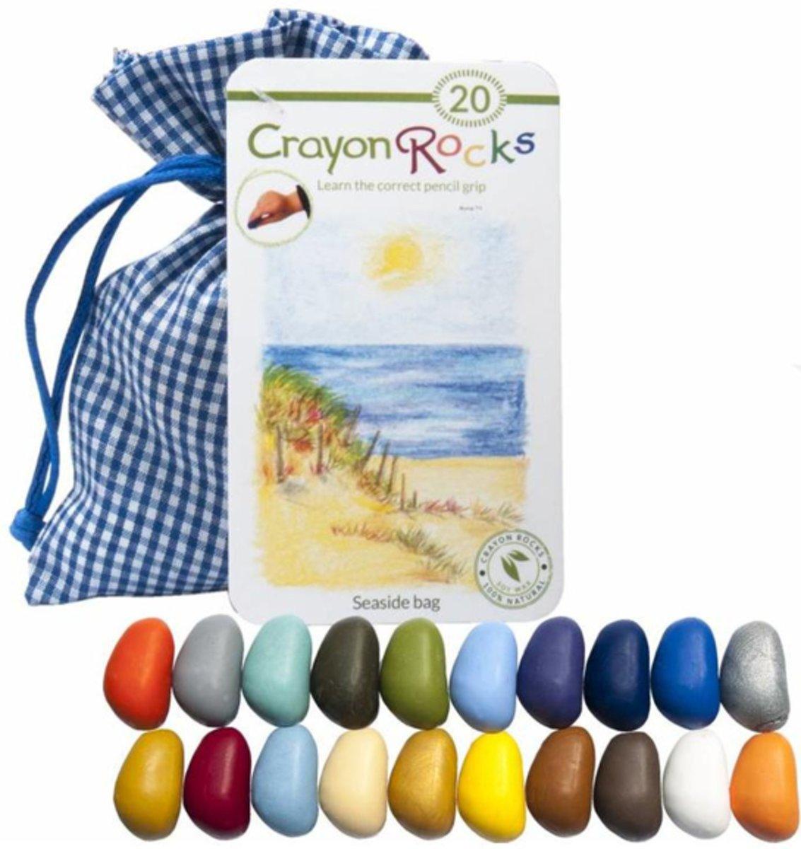 Crayon Rocks (20) krijtjes in een blauw-wit geruiten zakje kopen