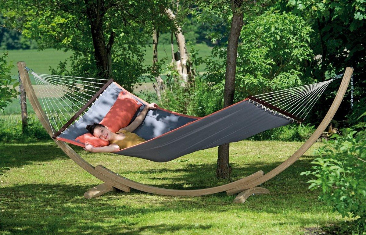 2 Persoons Hangmat Met Houten Standaard.Amazonas Hangmat Set American Dream Grijs Luxe Houten Standaard